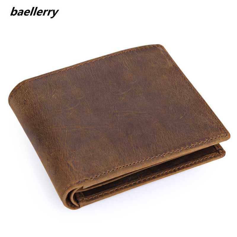 Vintage Solid Color Cow Leather Wallet for Men Crazy Horse Leather Open Horizontal Money Wallet Card
