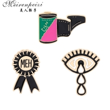 Meirenpeizi Meh Tie Eyes pins Badges Brooches Lapel pin Enamel Pins and for Women Men  Backpack Bag Accessories