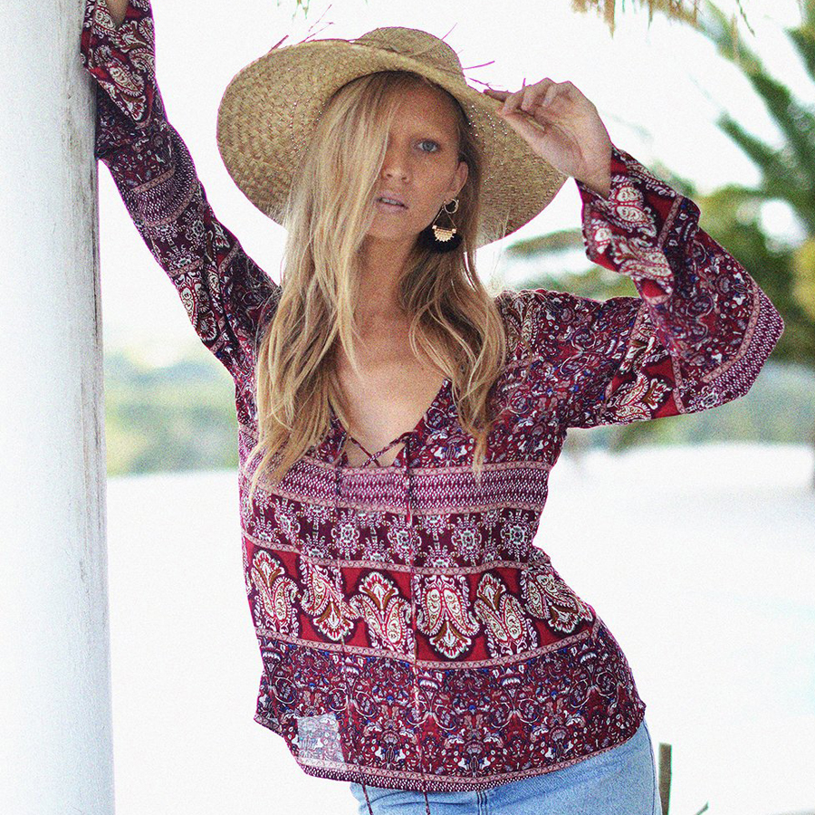 TEELYNN boho   blouse     shirt   rayon floral print   blouses   women v-neck long sleeve Femininas Camisas beach beach wear top Blusas