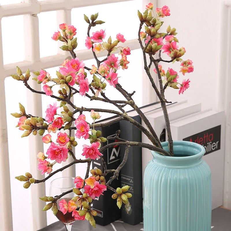 Flor de cerejeira decoração adornos para casa fontes do ofício de flores artificial galhos de árvores de pinho barato sakura verde vermelho branco plasti