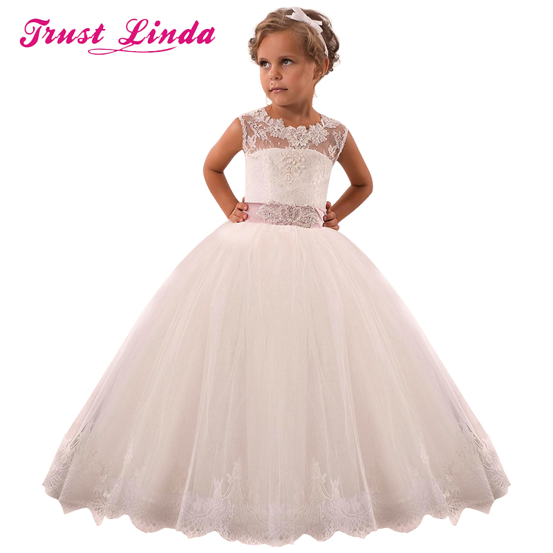 Princess Lace Flower Girl Dresses 2018 Tulle Girls Pageant Dresses First Communion Dresses Kids Evening Gowns For Bridal Party