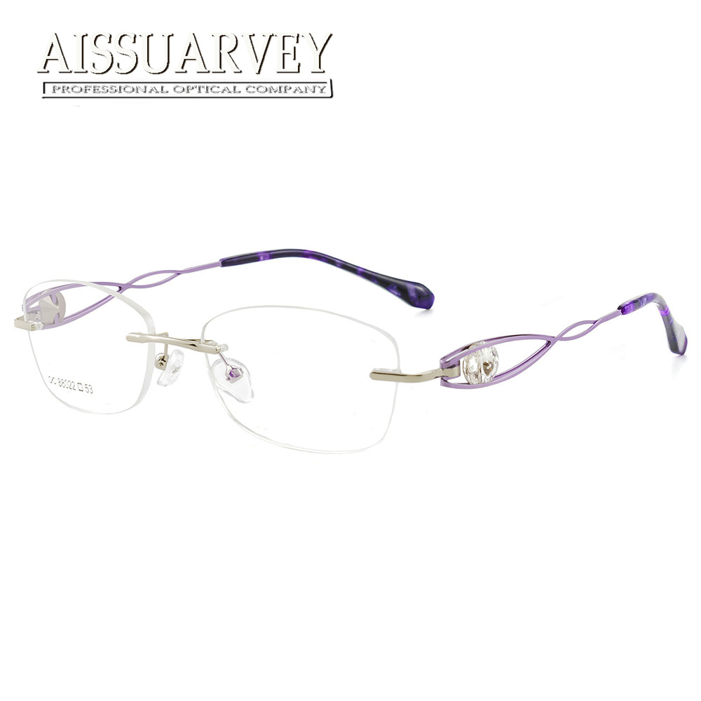 Rhinestone Diamonds Rimless Eyeglasses Frames Women Optical Glasses Luxury Prescription Brand Designer Top Quality Eyewear New