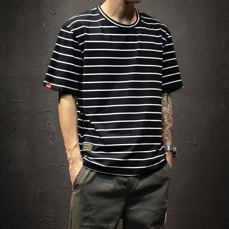 2019 Harajuku Striped Shirt Japanese Streetwear Modis Tshirt Men Slim Tee Shirt White Top&Tee Hombre Large Size 5XL Male
