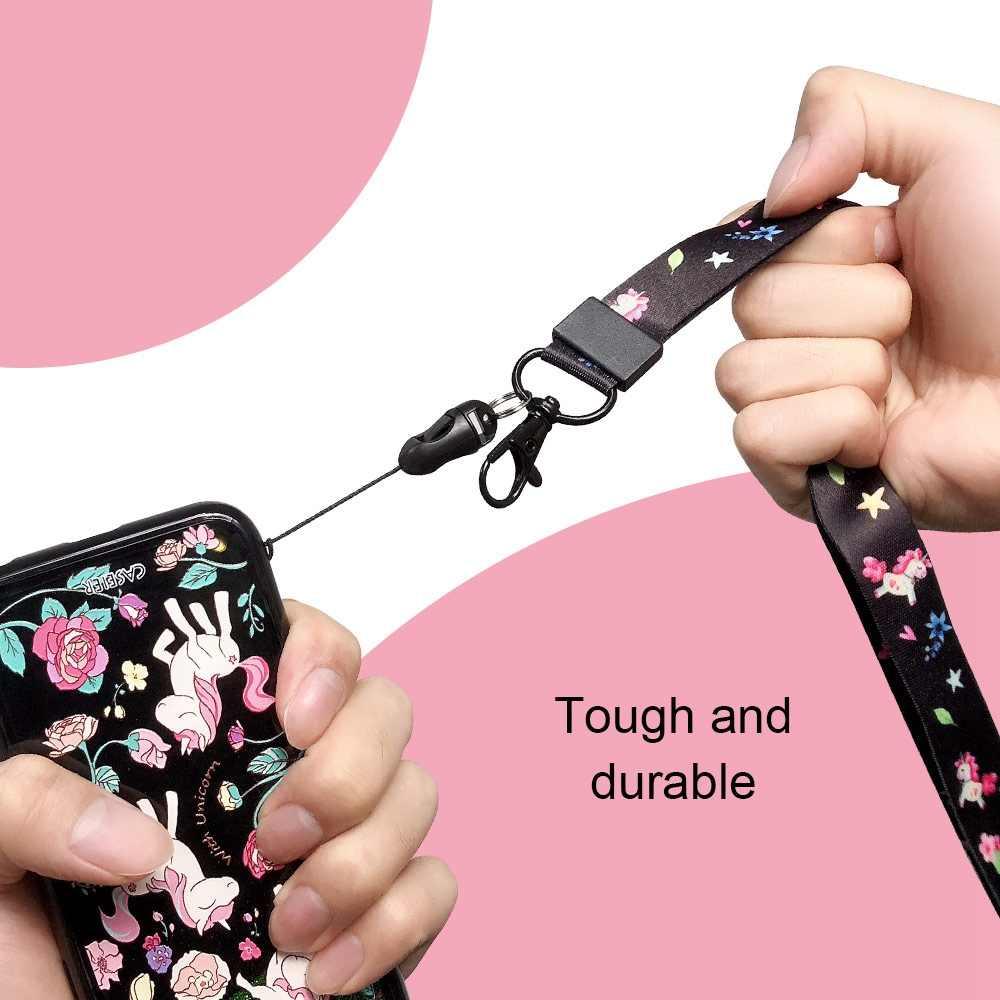 Caseier Ponsel Lanyard untuk Kunci untuk iPhone X 8 7 Plus Asli Bermotif Lanyard untuk Kasus Licin Lambat Rising licin Mainan