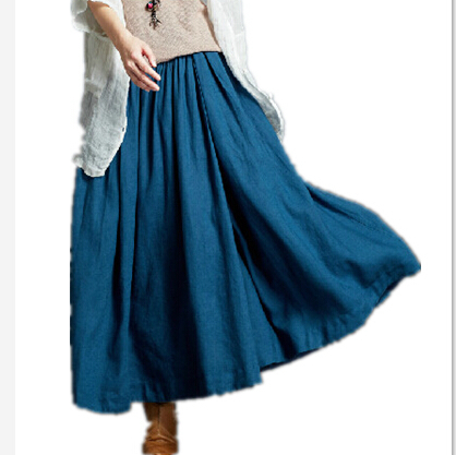 2019 Spring And Summer Women's Casual Cotton Skirts, Plus Size Long Linen Skirts,andy Color Loose Pleated Skirts