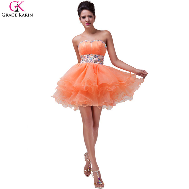 5fe9cd30e32 Grace Karin Beaded Orange Cocktail Dresses Strapless Ball Gown Knee Length Prom  Dress Organza Homecoming Graduation Gowns