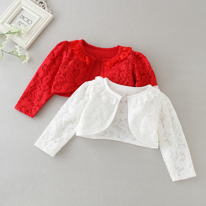 Red Baby Girl Jackets 100% Cotton White Baby Cardigan Sweater For 1 & 2 Years Coat 2020 Spring Newborn Baby Clothes RBC195001