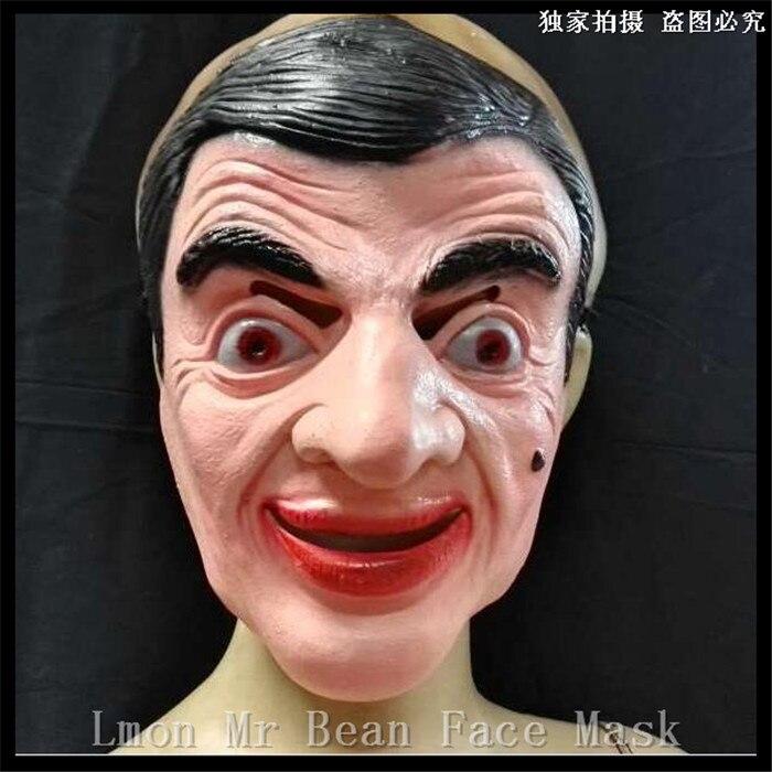 Бесплатная доставка Хэллоуин злодей шутка Мистер Бин Уход за кожей лица Маски для век латекс взрослых Для мужчин партия Хэллоуин маскарад м...