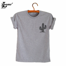 Camiseta de talla grande estampado de cactus Harajuku Kawaii encantador Casual Simple Delgado cómodo gris camisetas Vintage cuello redondo Tops H1117