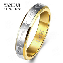 купить Classic Forever Love 18K Stamp Gold Ring 925 Sterling Silver Wedding Rings For Women Couples Stainless Steel Lovers Rings JZR096 дешево