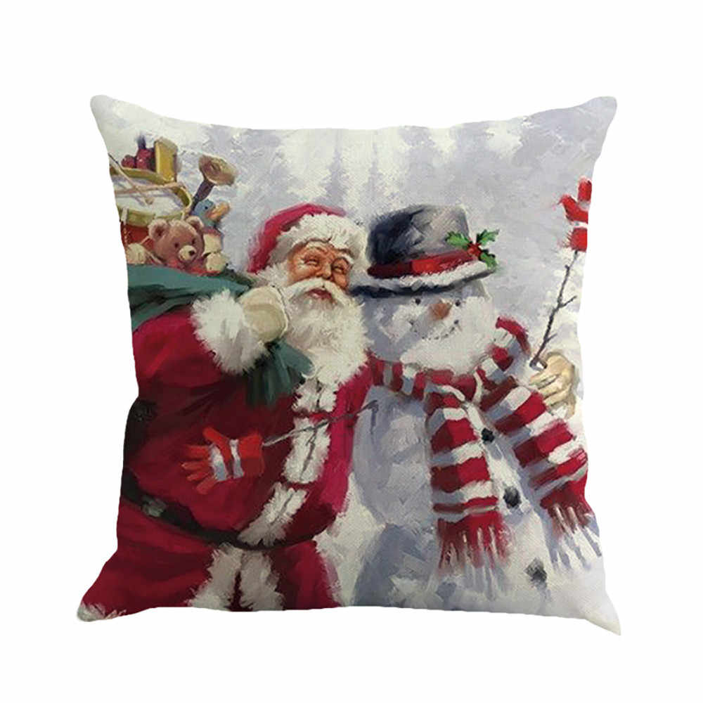 Baru Natal Festival Bantal Santa Claus Gambar Pencelupan Sarung Bantal Sofa Cover Kamar Tidur Natal Bantal Cover N082