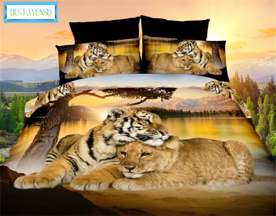 BEST.WENSD High Quality Luxury 3d Tiger Wolf Bedding Set Western Style Home Textiles Bed Linen Quilt Cover Pillowcase Bedspread