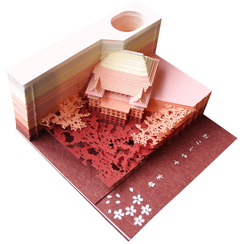 3d post Temple 3d modèle de construction réseau vibrant rouge créatif papier sculpture notes papier mémo avancé papier cadeaux de noël