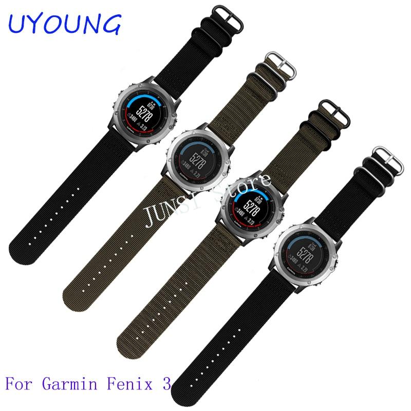 Nylon Watch Band 26mm շքեղ նեյլոնե ժապավեն 5 օղակաձև ժամացույցի փոխարինող խումբ Garmin Fenix 3 սև կանաչ wwatchband