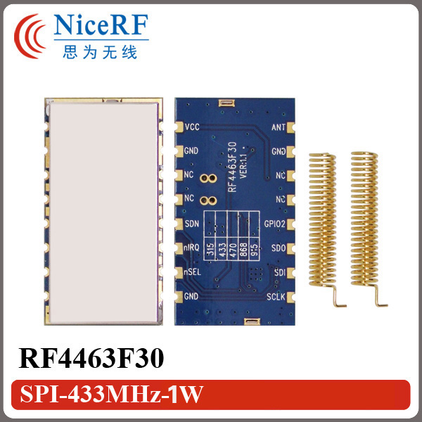 2pcs/lot  RF4463F30 1W FSK Wireless SI4463 Transceiver Module |433MHz Wireless RF Receiver Module