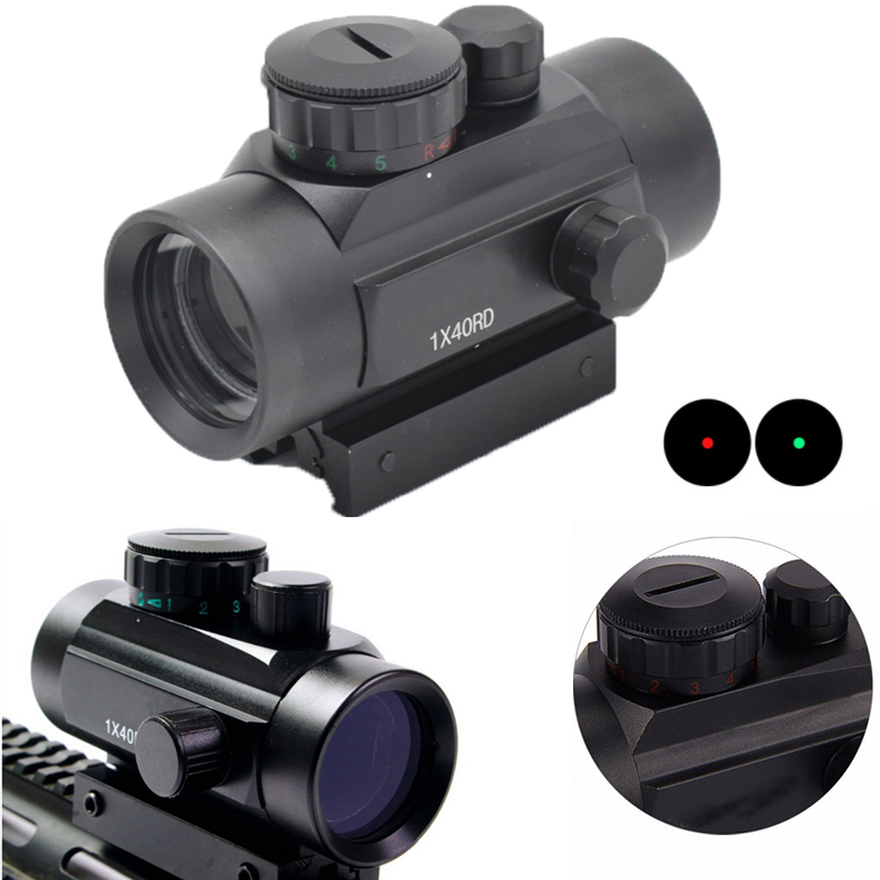 Hunting 1X40 Red Green Dot Sight Optics Tactical Scope Holographic Riflescope Picatinny Mount 20mm 11mm Weaver Mounts