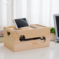 Modern Style Wooden Office Organizer Table/Desk Sundries Storage Box Wood Plug/Router/Electric Wire Storage Holders