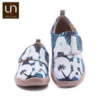 UIN Aloha Design Canvas Casual Shoes for Big Kids Hook & Loop Soft Flats Boys/Girls Comfort Outdoor Children Shoes Sneakers