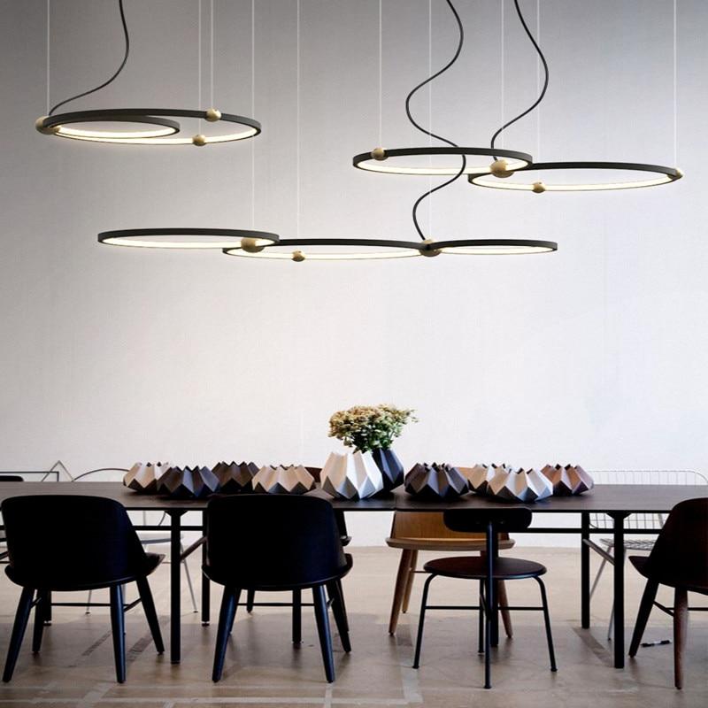 Image 3 - Northern Europe Designer Led Pendant Light Creative Loft Circle Dining Room Hanging Lights Retro Led Hotel Villa Deco Lights-in Pendant Lights from Lights & Lighting