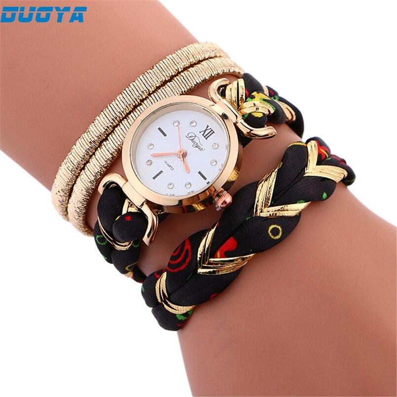 Duoya Brand Fashion Dial Quartz Watch Women Wristwatch Steel Luxury Bracelet Watch Multilayer Leather Wrist Watch Dropship #A01