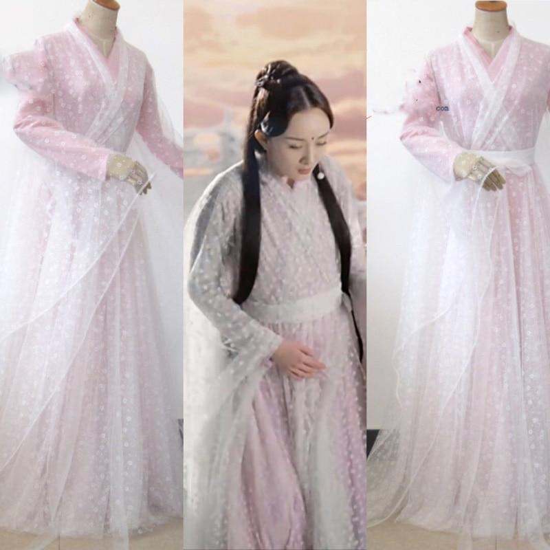 3 Designs  White Flower Bai Qian Fairy Women's Costume Forever Love In Ten Miles Of Peach Blossom Bushes TV Play Costume