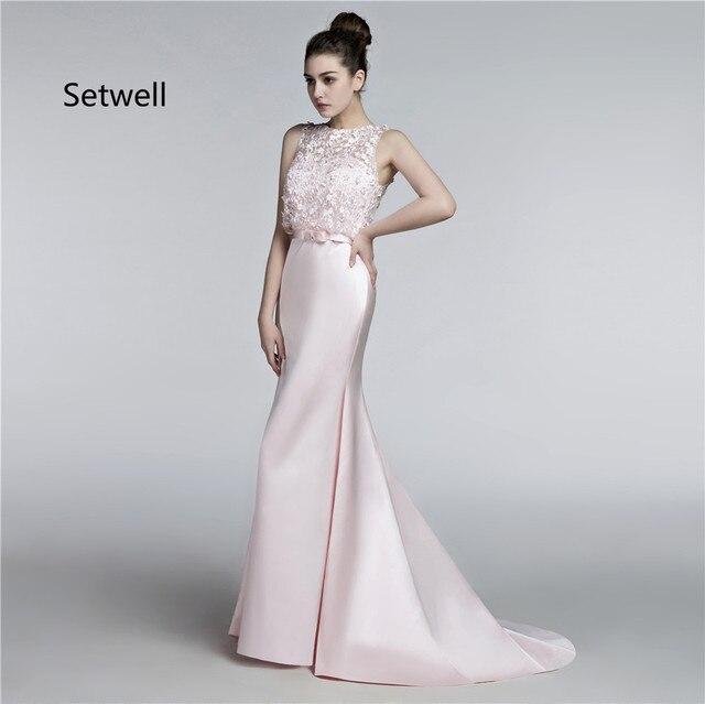 Setwell Nette Rosa Abendkleider Illusion Ausschnitt Sexy ...