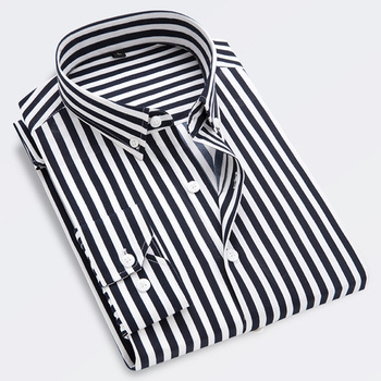 LOLDEAL  Stripe Shirt Men Long Sleeve Shirts Male Striped Classic-fit Comfort Soft Casual Button-Down Dress