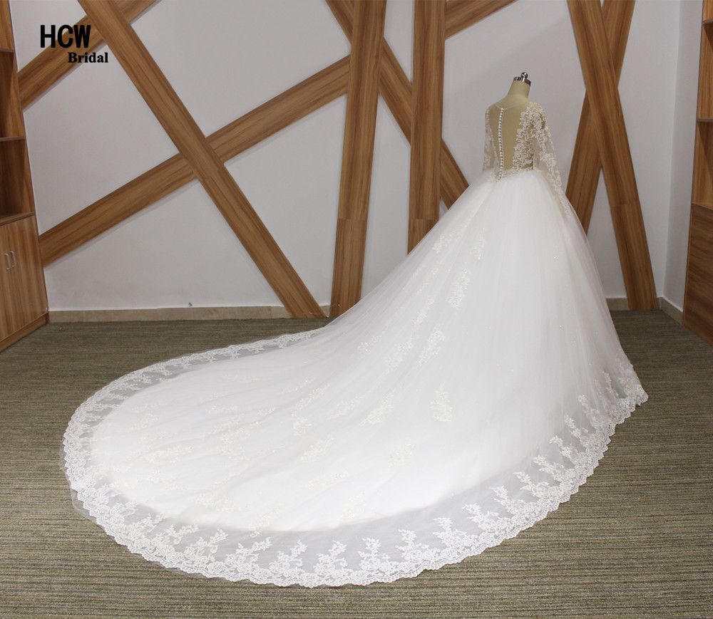 Romantische lange mouw koninklijke trein trouwjurk 2019 v-hals - Trouwjurken - Foto 2