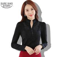 2016 Autumn New Fashion Plus Size Ladies Lace Shirts Casual Chiffon Slim Shirt Tops Elegant Women