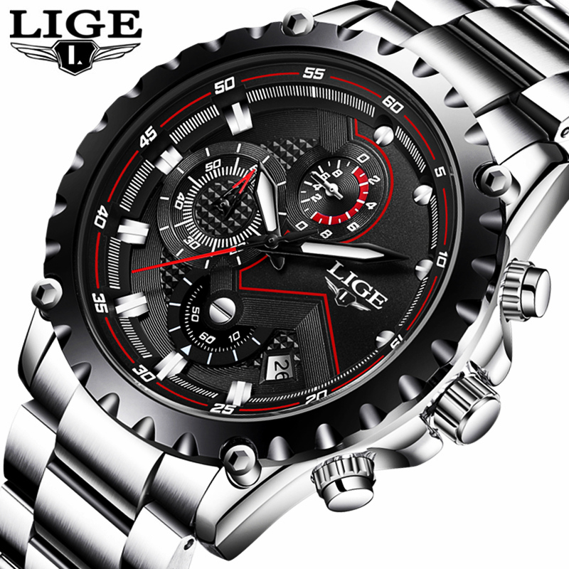 LIGE Mens Watches Top Brand Luxury Men Military Sport Watch Stainless Steel Waterproof Quartz wrist watch Relogio Masculino+Box mens watches top brand luxury cadisen military sport quartz chronograph watch men waterproof full stainless steel wrist watch