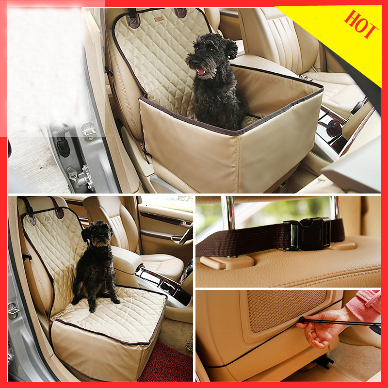 2 in 1 Durable Car Pet Seat Covers Waterproof Car Carrier Dog Carry Storage Bag Auto Dog Fence Seat Cover For Front Seats