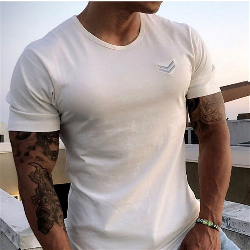 Men gyms Fitness t shirt Bodybuilding Shirts Fashion Casual Male Short sleeve cotton Tees Tops clothing 35