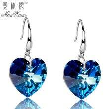Австрийские Кристальные посеребренные серьги, серьги в форме голубого сердца океана, подарок на день рождения для женщин, pendientes mujer moda