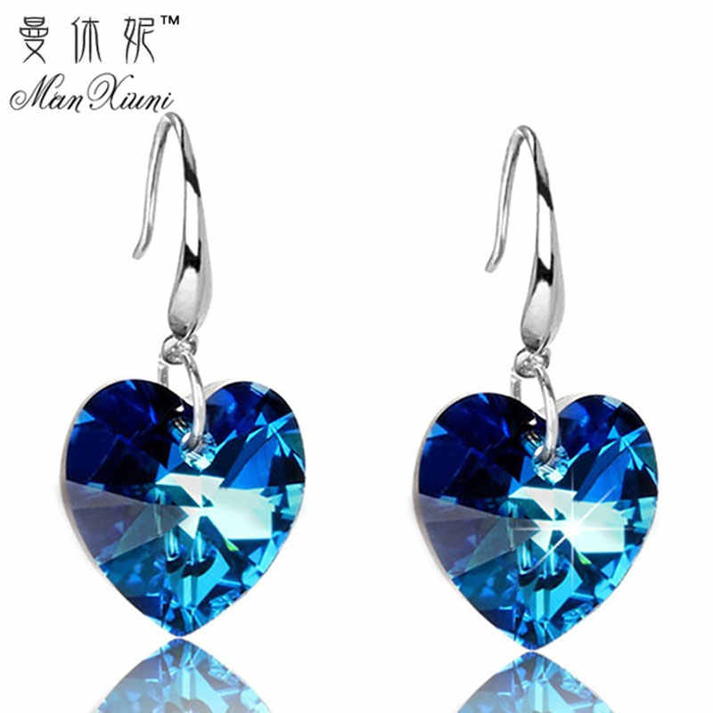2018 Austria Crystal Silver Plated Earrings Blue Heart of Ocean Shaped Earring for Birthday Gift for Women pendientes mujer moda
