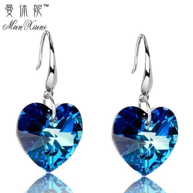 2018 Austria Crystal Silver Plated Earrings Blue Heart of Ocean Shaped Earring f
