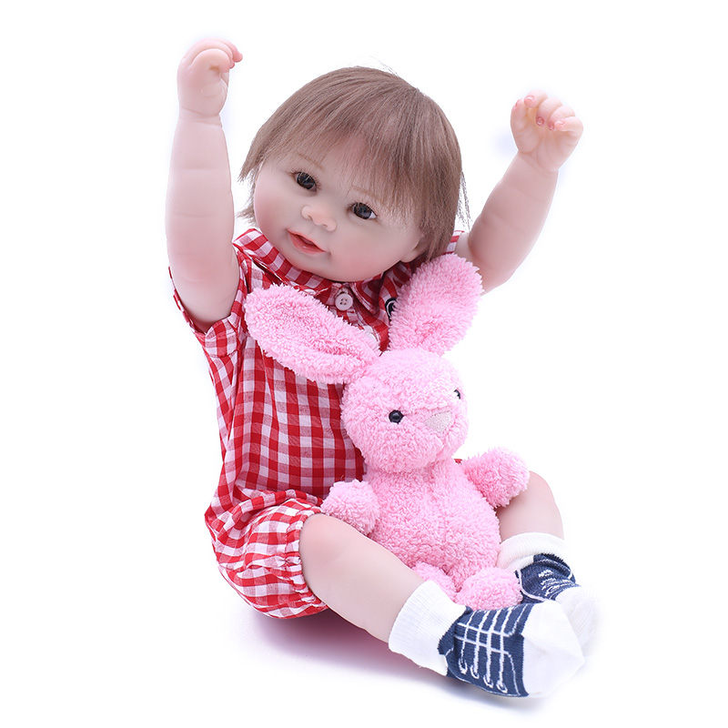 50cm Full Silcione Lifelike Newborn Baby Children Best Playmate Silicone Baby Reborn Dolls Girl Gifts for Birthday Christmas
