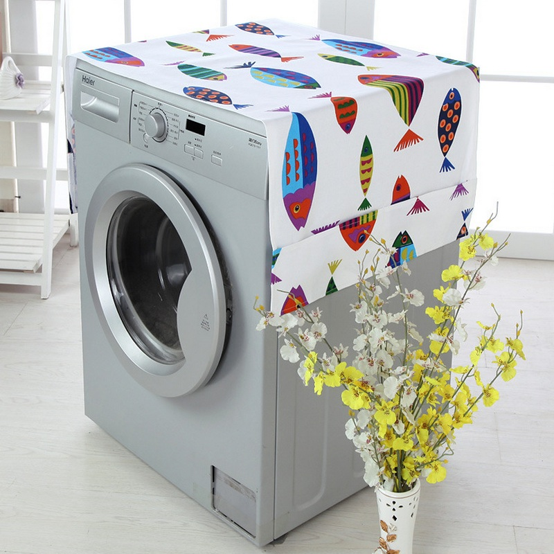 Cartoon Patchwork Drum Washing Machine Cover Waterproof Sunscreen Dustproof Washing Machine Case Protect Pocket Top Tail Front