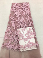 French Lace Fabric Pink Wedding High Quality African Tulle Lace Fabric 5Yards/Lot 3 d Flowers Embroidered Tulle Lace Fabric