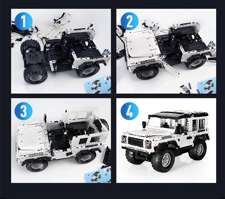 Oyuncaklar ve Hobi Ürünleri'ten Bloklar'de 553 adet teknİk serisi Defender SUV RC araba modeli yapı taşı DIY Off Road araba tuğla oyuncaklar çocuklar için uyumlu LegoED'da  Grup 3