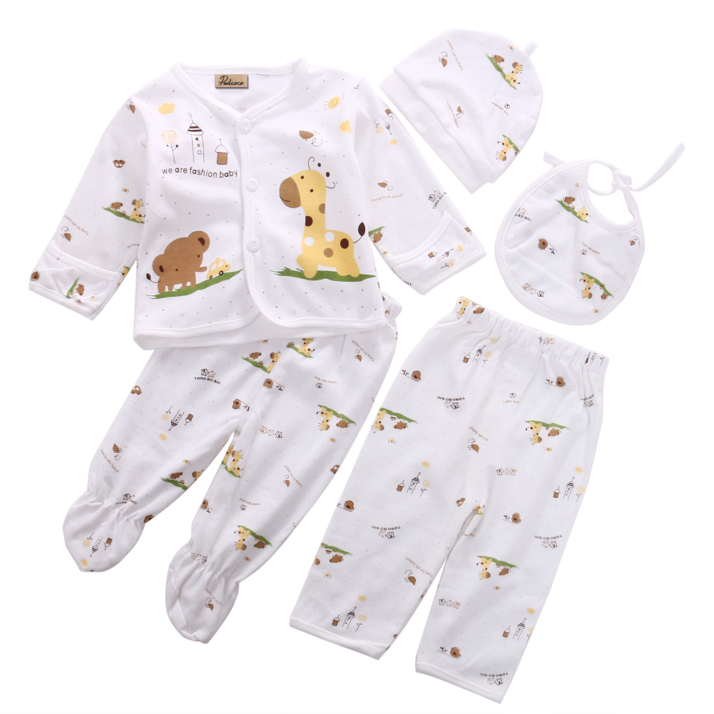 Cute Baby Boy Girls 0-3 Months Clothes Set Long Sleeve Animal Print Shirt Hat Leggings Pants 5pcs Pajamas Set Clothing Cotton material girl new black animal print leggings msrp $22 5 dbfl