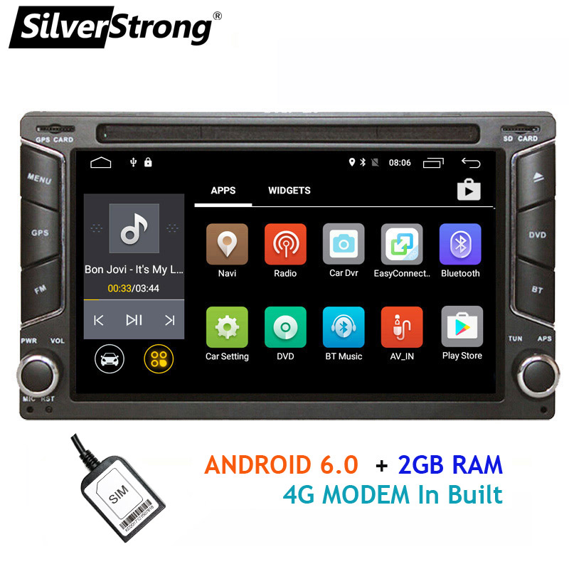 SilverStrong Android 2Din Car DVD 4G Modem 2Din Radio Universal Car Stereo Double Din GPS car android radio 6258