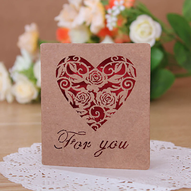 10pcs/Lot Greeting Cards Wedding Invitations Kraft Paper Elegant