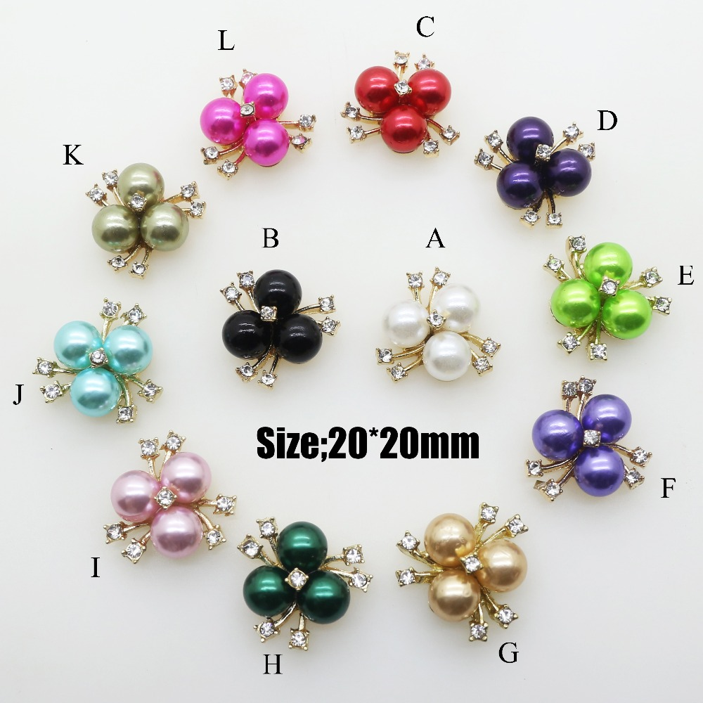 Wholesale 100pcs Features Colorful Flower Core Rhinestone Pearl Buttons For Alloy Crystal Brooch DIY Manual Embellishment Button