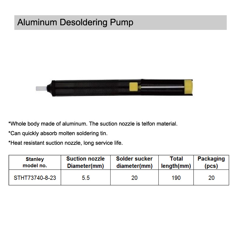 Desoldering Pump Solder Sucker Removal Vacuum Tool with Aluminum Body Teflon Tip
