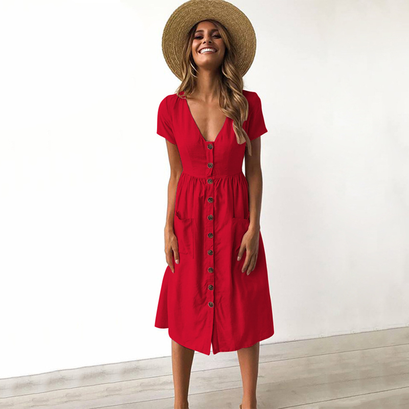 f7b2ea5066b Casual Midi Dress Women 2018 Fashion Short Sleeve Solid Summer Dresses With Pockets  Vintage Women Dresses Red Green Blue Pink-in Dresses from Women s ...