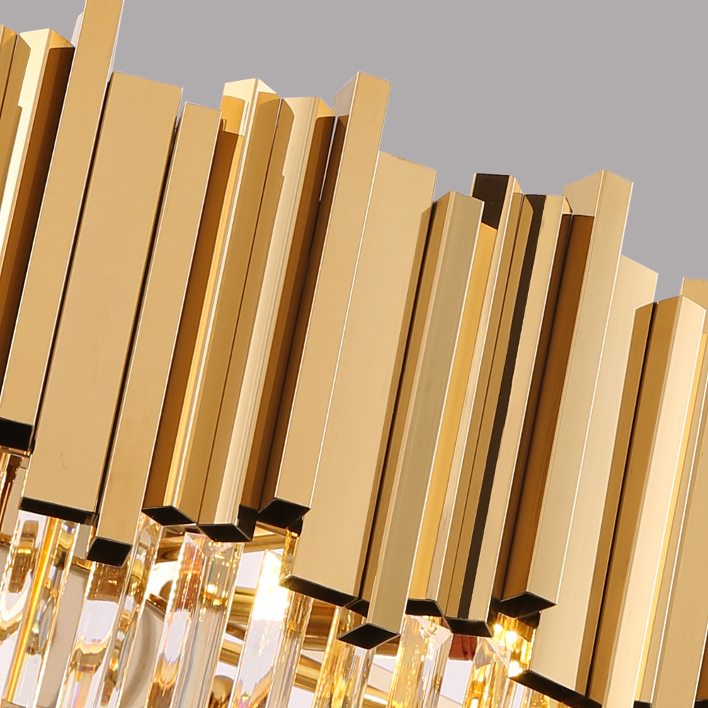 Round Gold Crystal Chandelier For Ceiling Luxury Modern Bedroom LED Lustres De Cristal  4