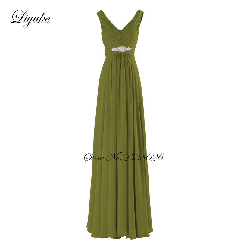 Liyuke Spaghetti Straps Chiffon Long Formal   Dress   Simple Elegant V-Neckline A line   Bridesmaid     Dresses   With Cute Sash Beading