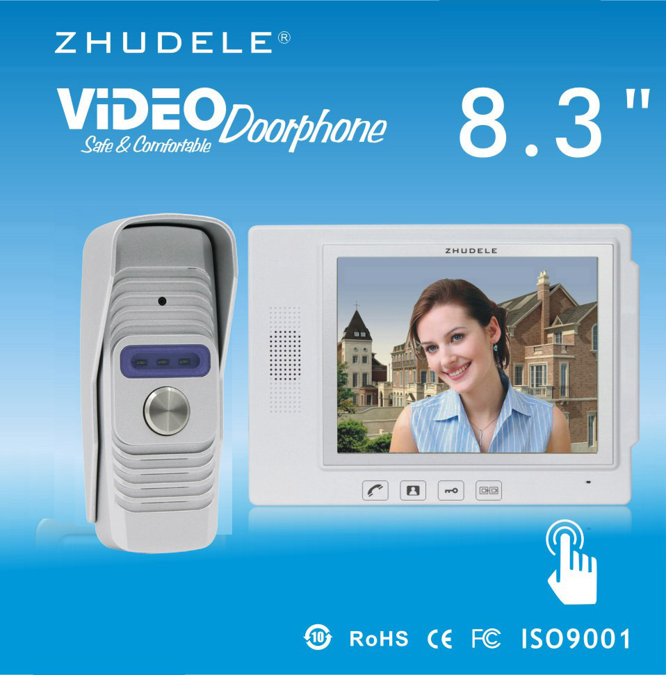 ZHUDELE Top quality 8.3 Display Wired Video Door Phone Touch Key Doorbell Intercom & IR 700TVL HD Home Security CCD Camera 1V1