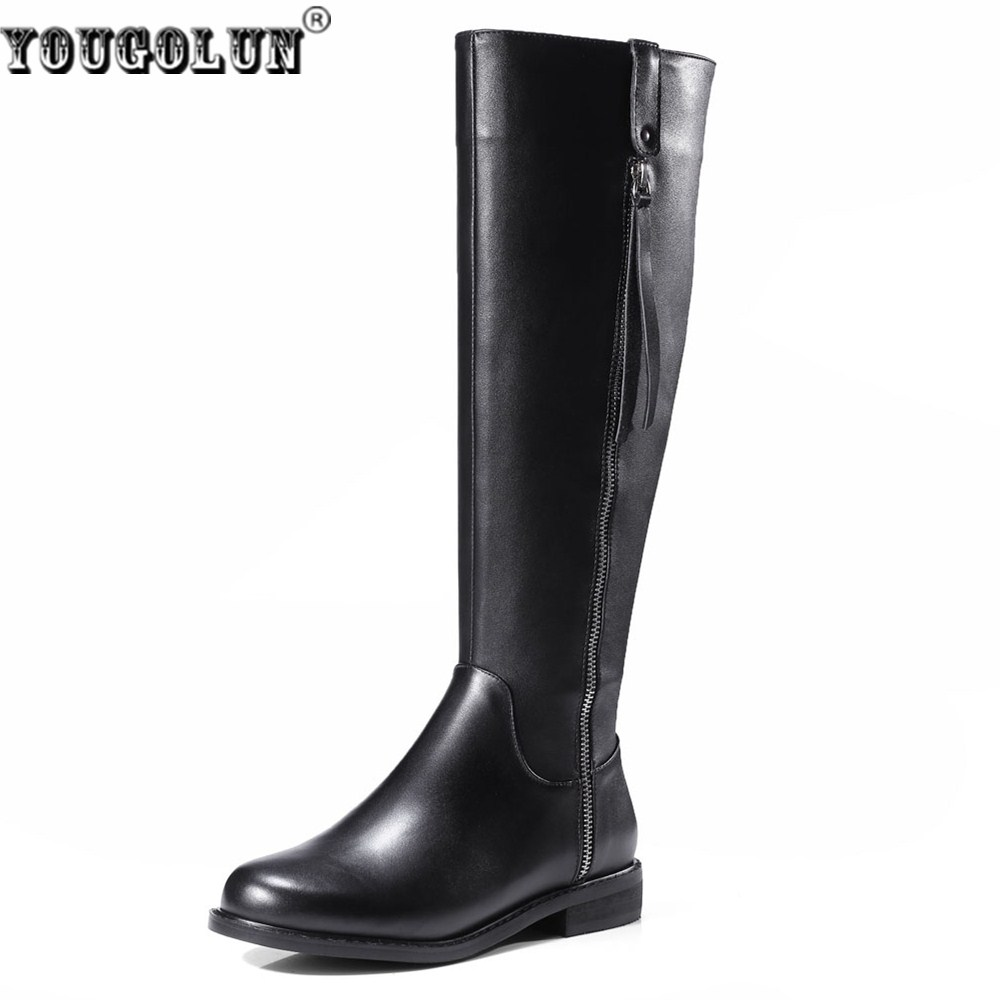 YOUGOLUN women knee high boots woman autumn winter thigh high boots women's genuine leather PU boots ladies 2017 roud toe shoes yougolun ladies fashion thigh high over the knee boots woman autumn winter womens female sexy nubuck suede leather women shoes