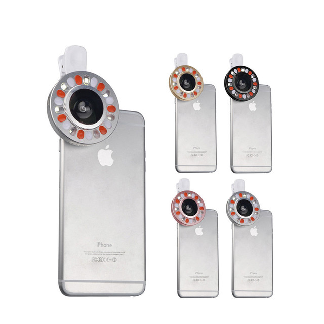 2017 Universal LED Selfie Filling Light Phone Lenses With Clips Wide Angle Macro Lentes For Nokia Lumia 1020 630 640 Asus ZTE